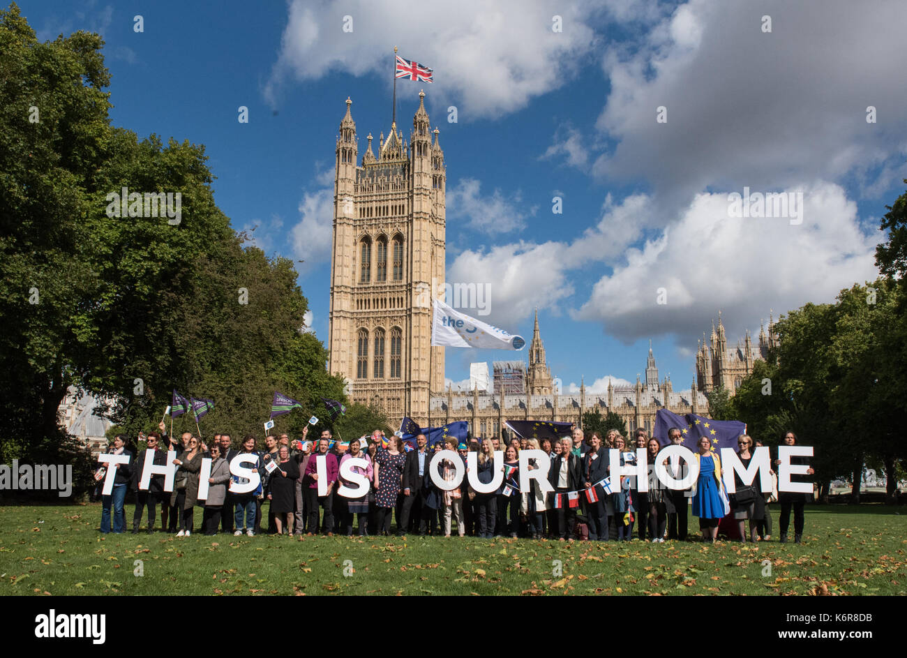 London, United Kingdom. 13th Sep, 2017. Pro EU group 'The 3 Million' hold photocall in Victoria Tower Gardens - Stock Image