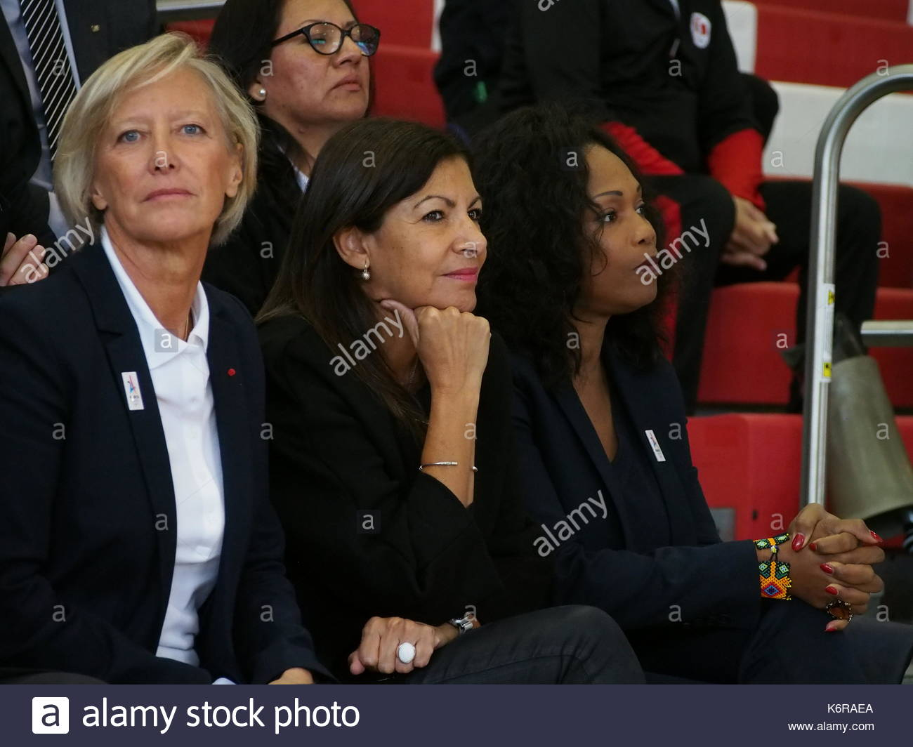 Lima, Peru. 12th Sep, 2017. French Politician Sophie Cluzel, Mayor of Paris Anne Hidalgo and French olympian Laura - Stock Image