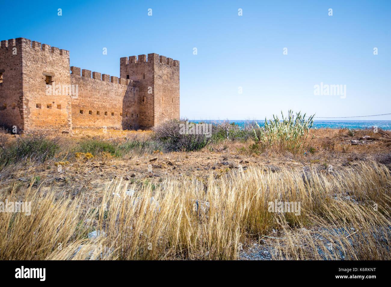 Castle at Frangokastello beach, Crete, Greece - Stock Image