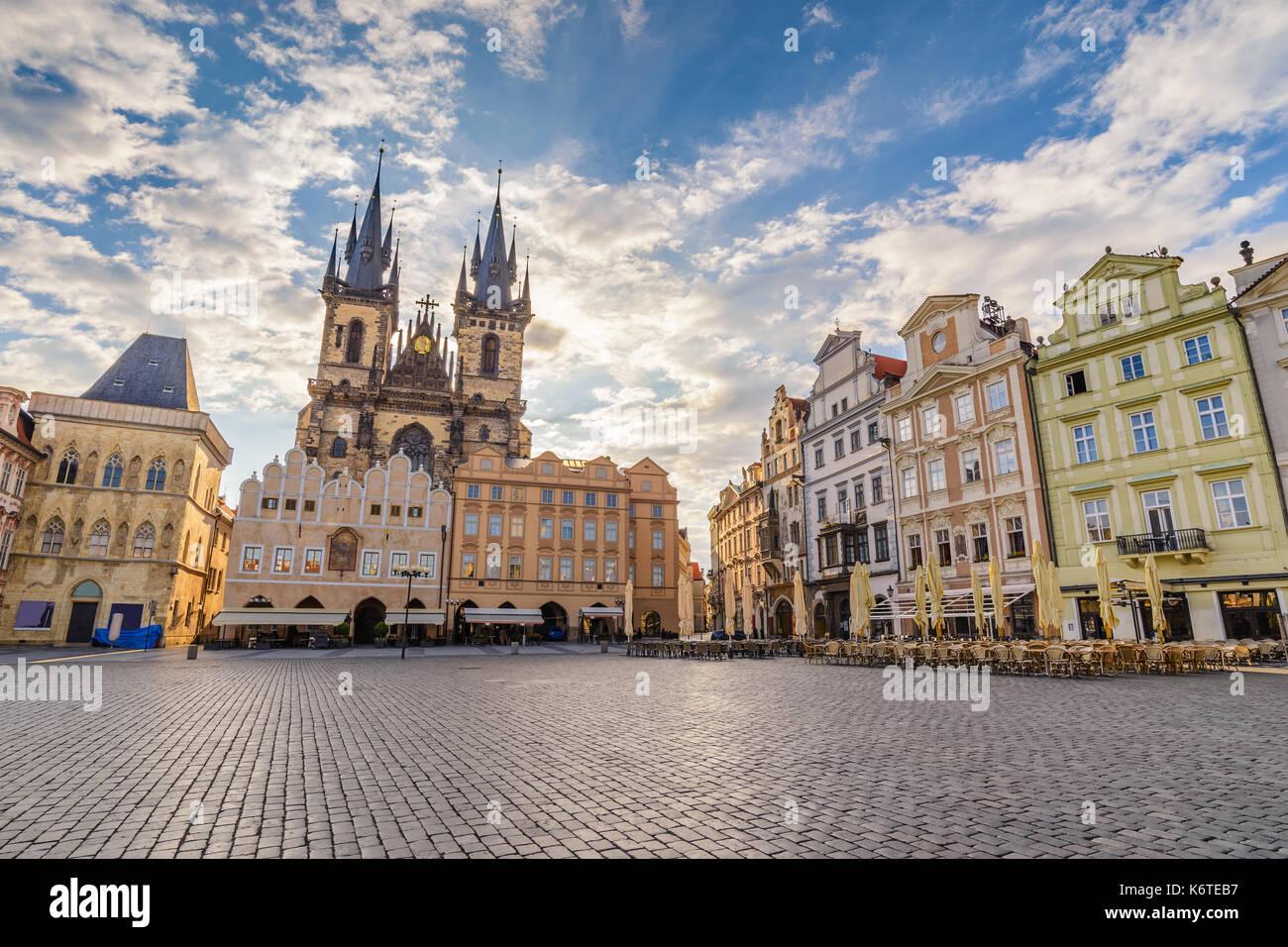 Prague sunrise city skyline at Prague Old Town Square, Prague, Czech Republic - Stock Image
