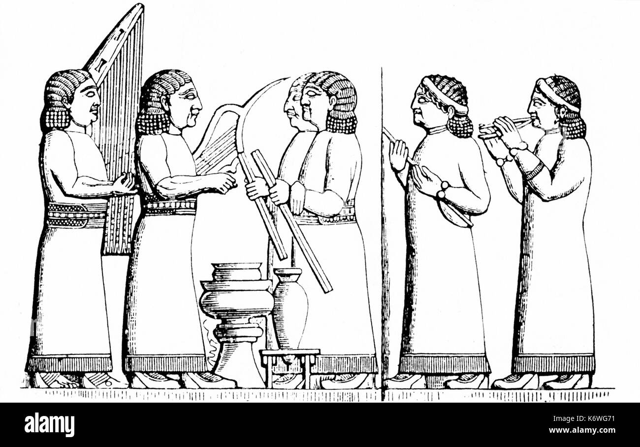 Assyrian / Babylonian musicians playing harp, lyre, chelys, double aulos Babylon.  Assyria. Stock Photo