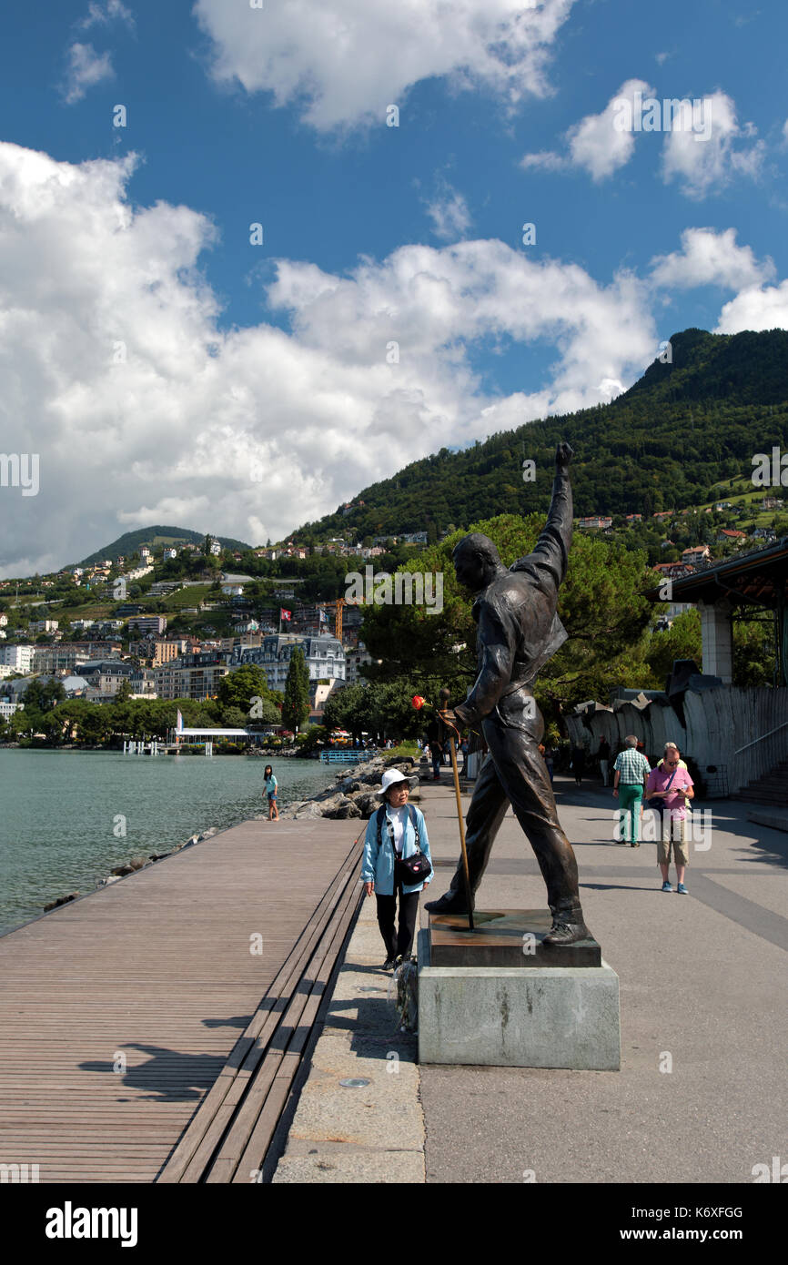 Freddie Mercury's statue is placed on the edge of Lake Geneva in Montreux, Switzerland, Europe. He stands and - Stock Image