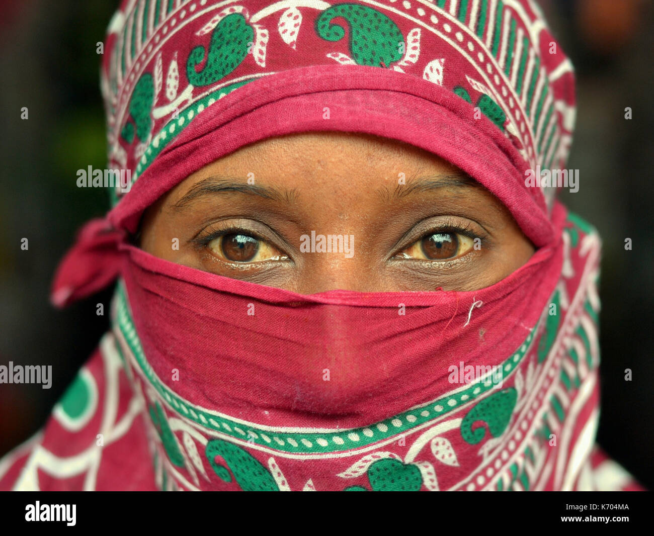 Mature Indian woman with beautiful brown eyes, covering her hair and face with a trendy secular headscarf; Jagdalpur, - Stock Image