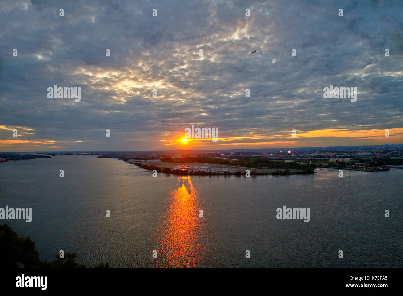 Aerial View of Sunset over Water - Stock Image