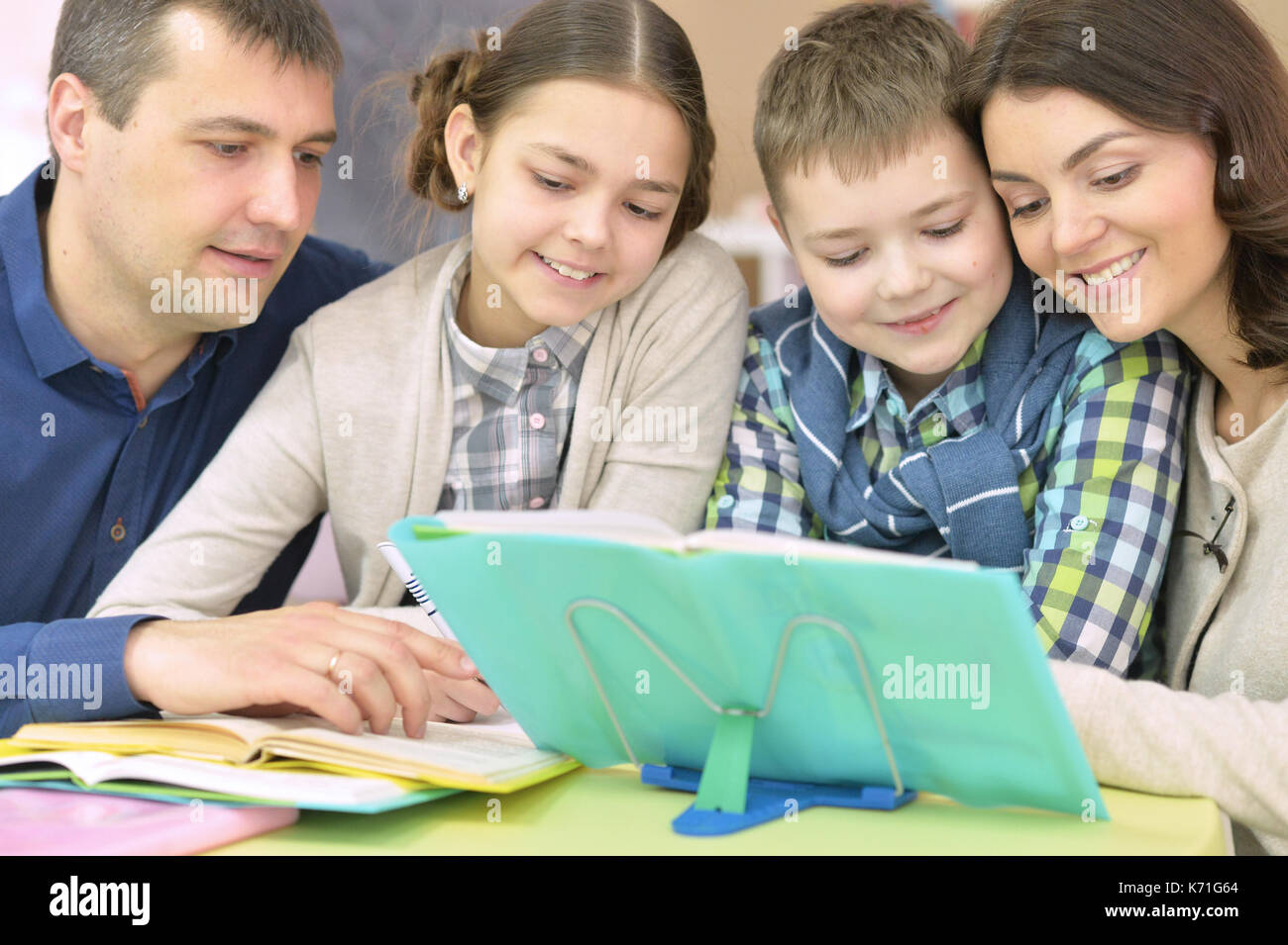 father children doing homework stock photos amp father