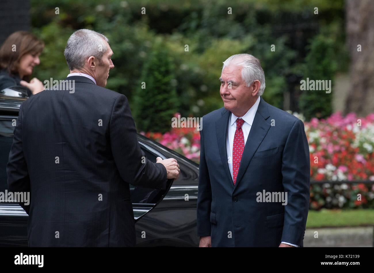 London, United Kingdom. 14 September 2017. US Secretary of State, Rex Tillerson, arrives at 10 Downing Street. Credit: - Stock Image