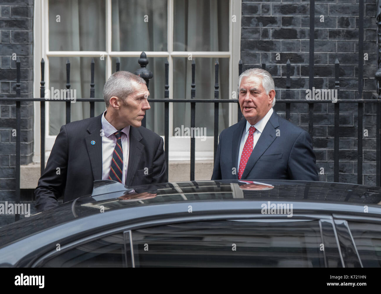 London, United Kingdom. 14 September 2017. US Secretary of State, Rex Tillerson leaves 10 Downing Street after a - Stock Image
