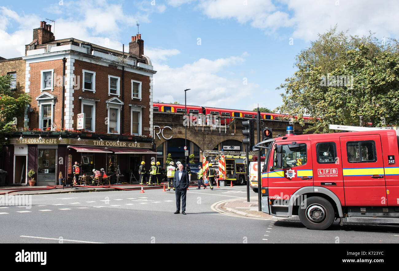 London, UK. 14th Sep, 2017. Four fire engines and 21 firefighters and officers were called to a fire at a café - Stock Image
