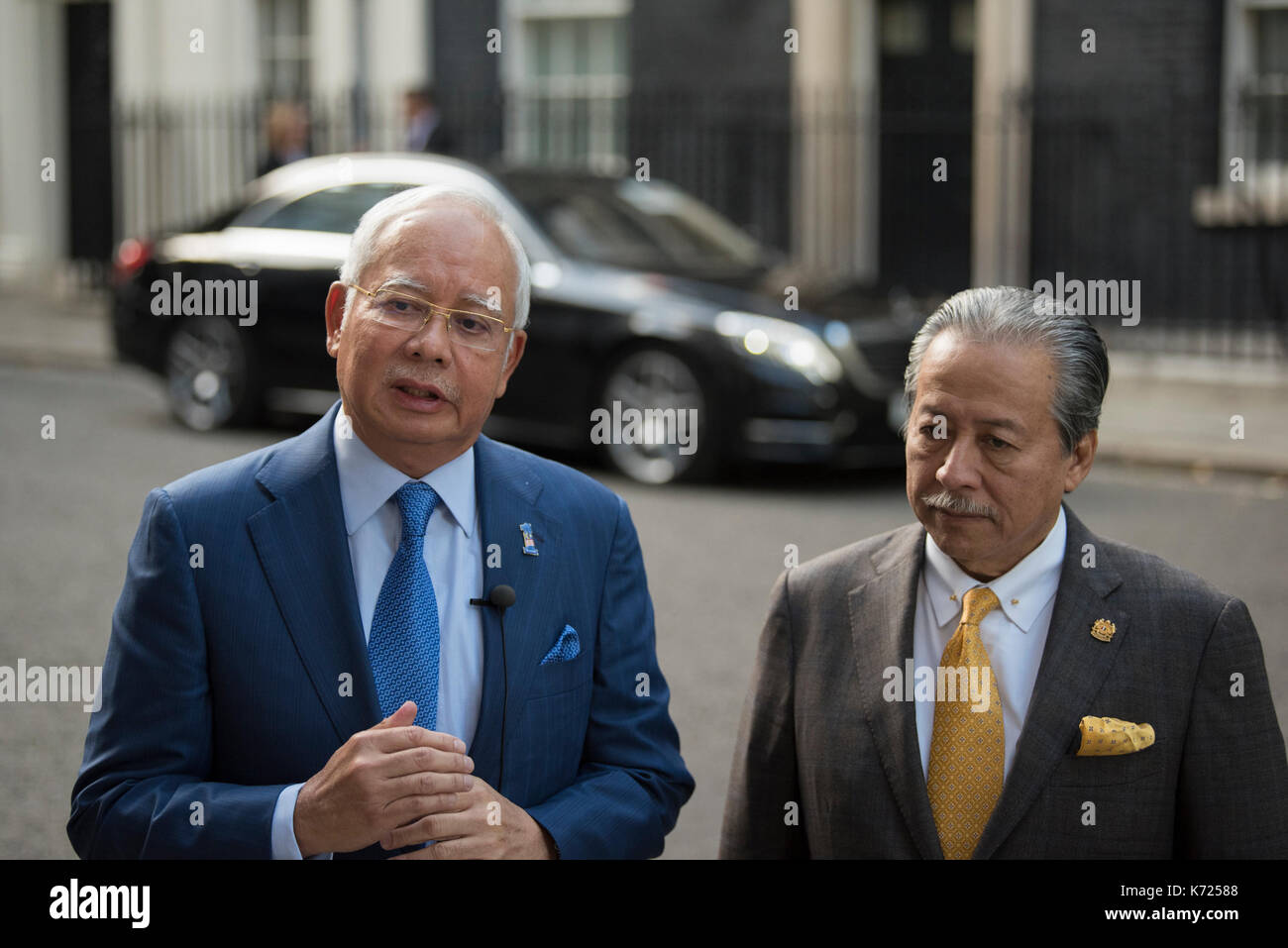 London, UK. 14th Sep, 2017. Prime Minister Najib Razak of Malaysia, alongside the Malaysian Foreign Minister Anifah - Stock Image