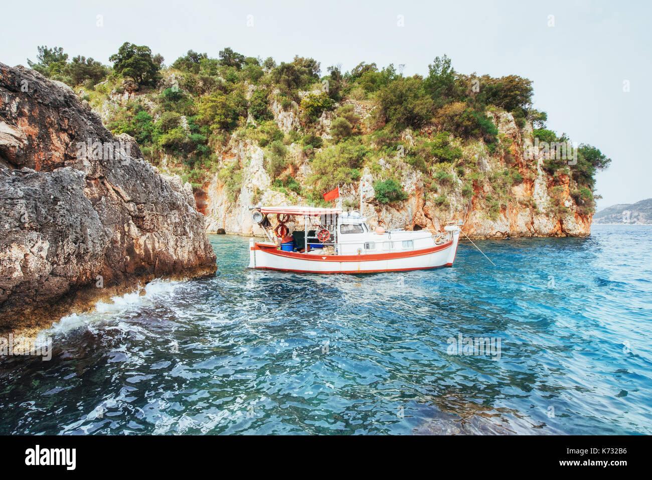 Panoramic view on sea coast. Beauty world. Turkey - Stock Image