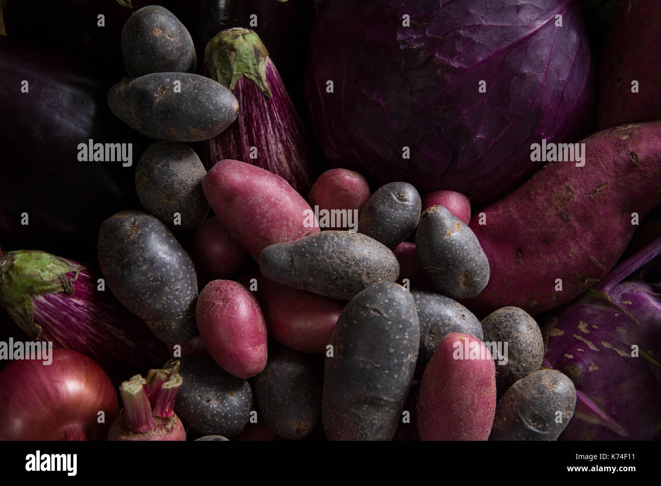 Close-up of various fresh vegetables - Stock Image