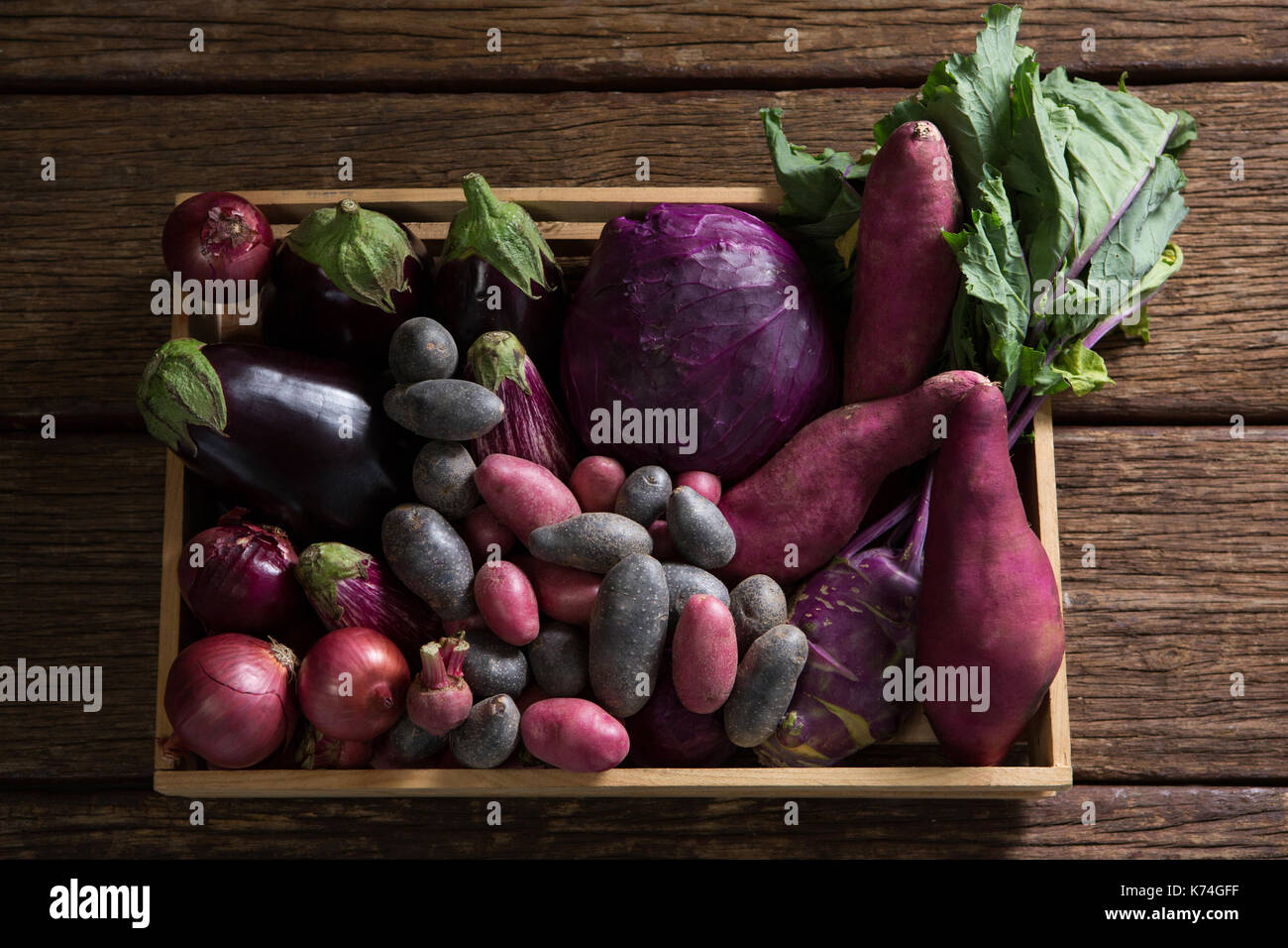Overhead of various vegetables on basket - Stock Image