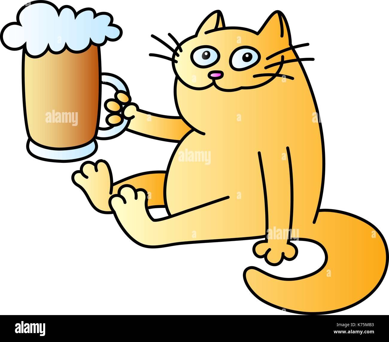 Cartoon Cat Orange With Black Stripes