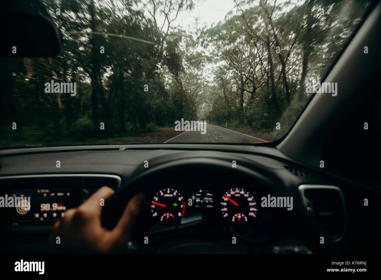 Driving Retro Car On Interstate