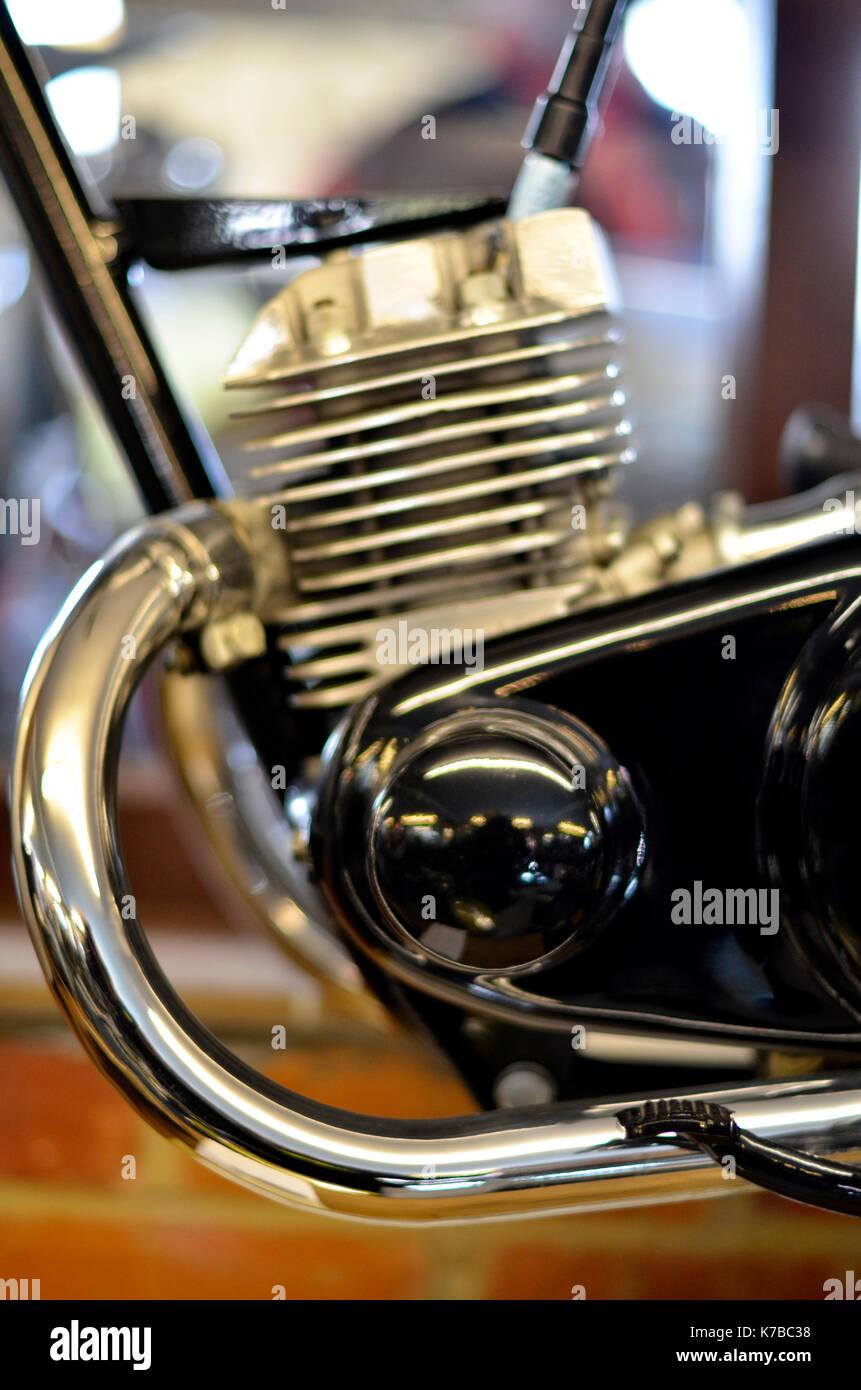 prototype triumph 200cc twin cylinder two stroke motorbike engine - Stock Image