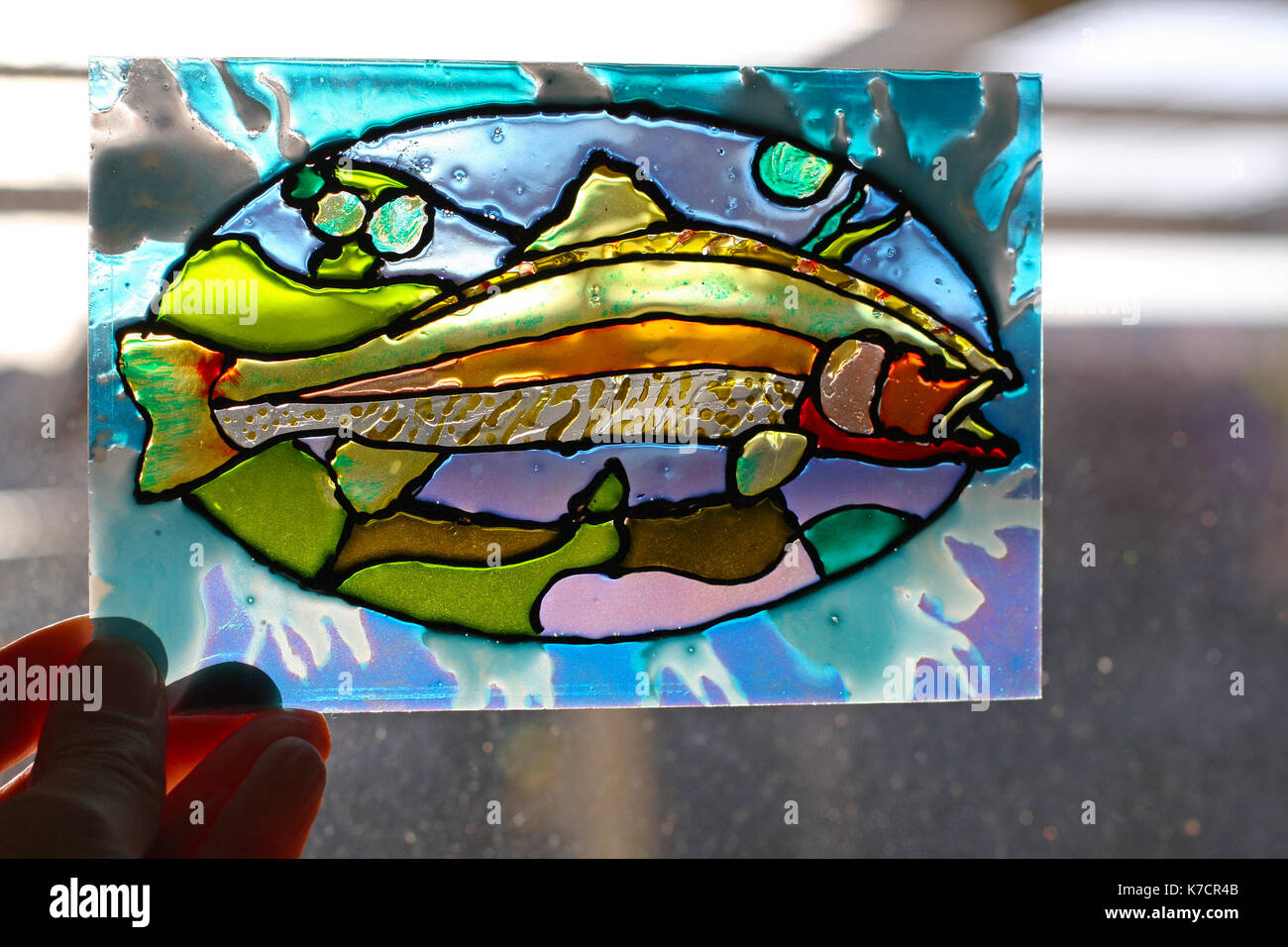 Hand painted glass stock photos hand painted glass stock for Painted glass fish