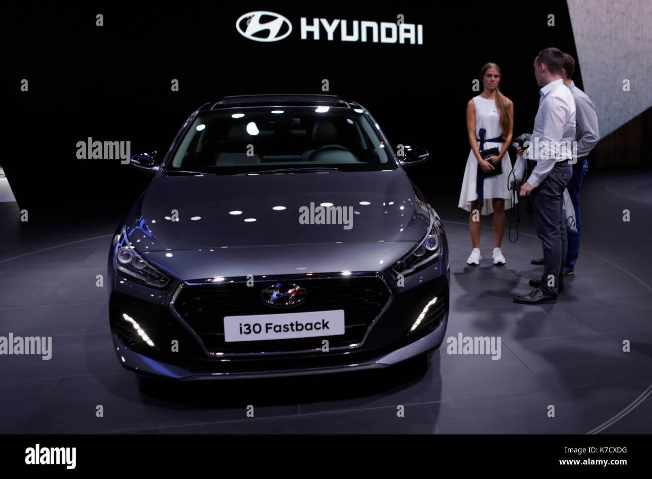 the korean car manufacturer hyundai presents the hyundai i30 fastback stock photo royalty free. Black Bedroom Furniture Sets. Home Design Ideas