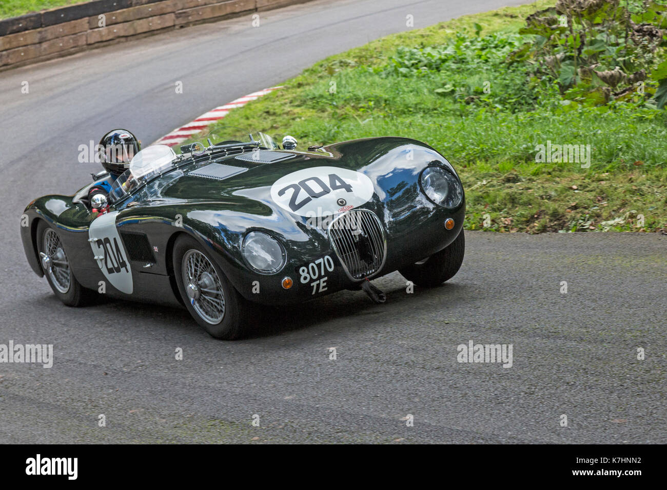 Worcestershire, UK. 16th September, 2017. A Jaguar C-Type Proteus being raced at the Autumn Speed Finale at Shelsley Stock Photo