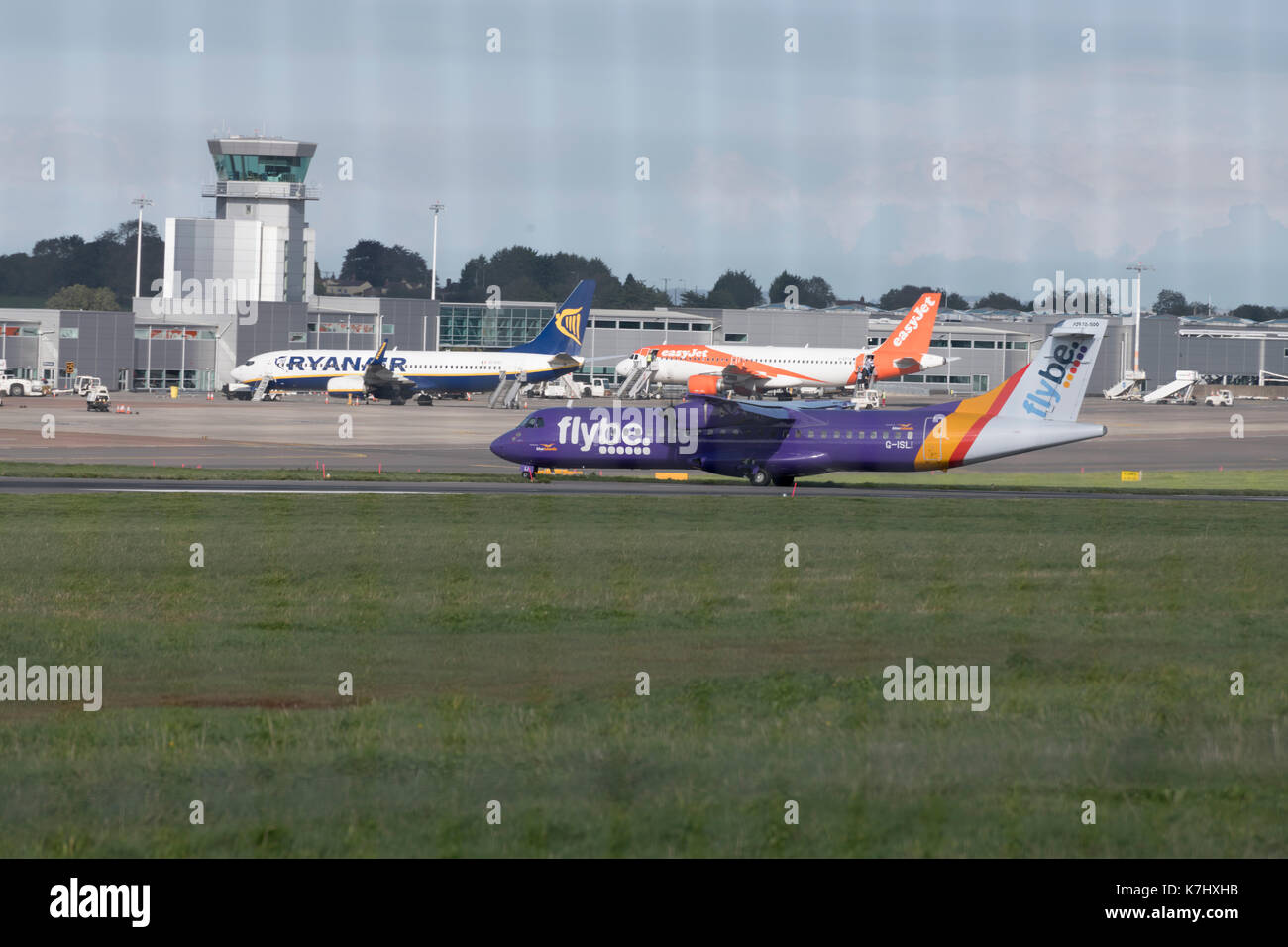 Flybe ATR 72-500 taxiing at Bristol Airport - Stock Image