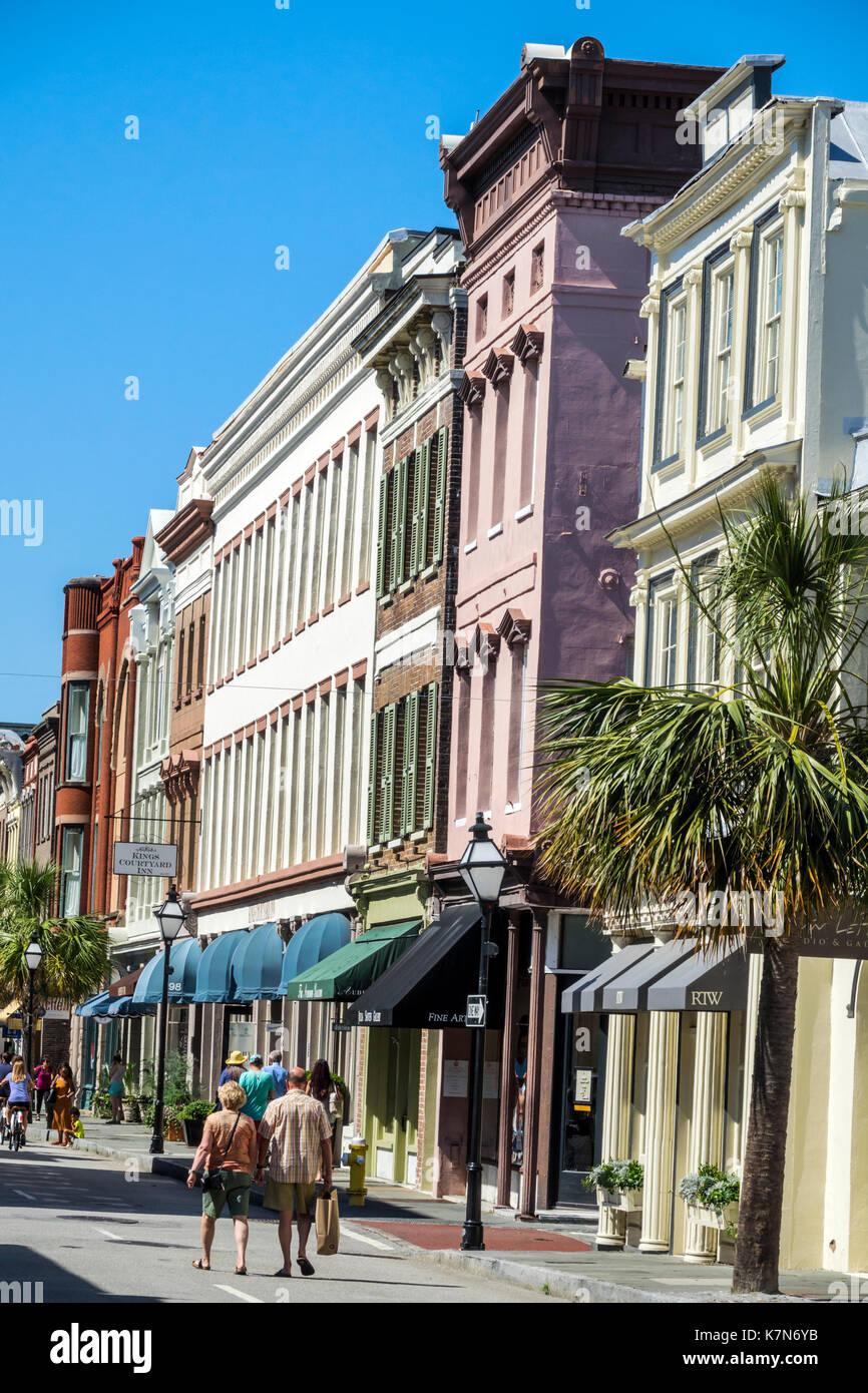 Charleston South Carolina SC Historic Downtown 2nd Sunday on King Street shopping street festival pedestrian only - Stock Image
