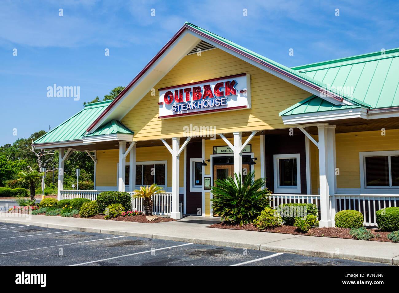 Myrtle Beach South Carolina SC Outback Steakhouse restaurant building exterior parking empty - Stock Image
