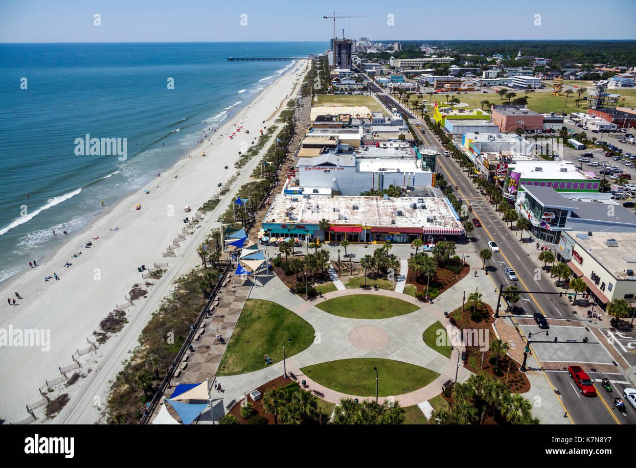 Myrtle Beach South Carolina SC Atlantic Ocean North Ocean Boulevard Plyler Park boardwalk SkyWheel Ferris wheel - Stock Image