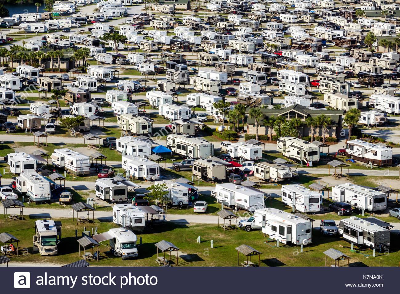Myrtle Beach South Carolina SC Myrtle Beach RV Travel Park recreational vehicles trailer caravan park campground - Stock Image