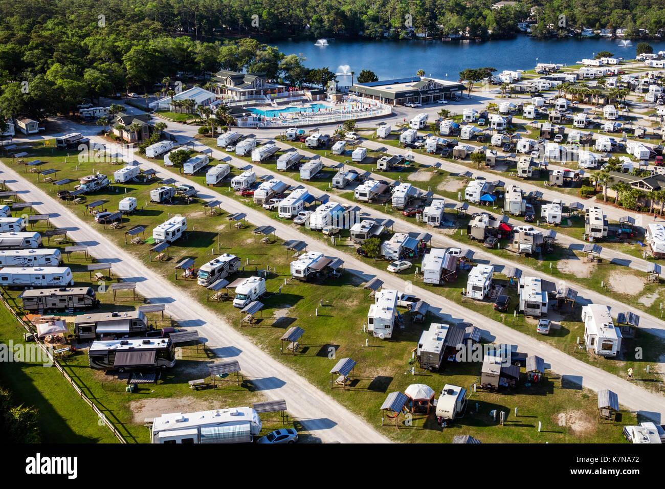 South Carolina SC Atlantic Ocean Myrtle Beach Myrtle Beach RV Travel Park recreational vehicles trailer caravan - Stock Image