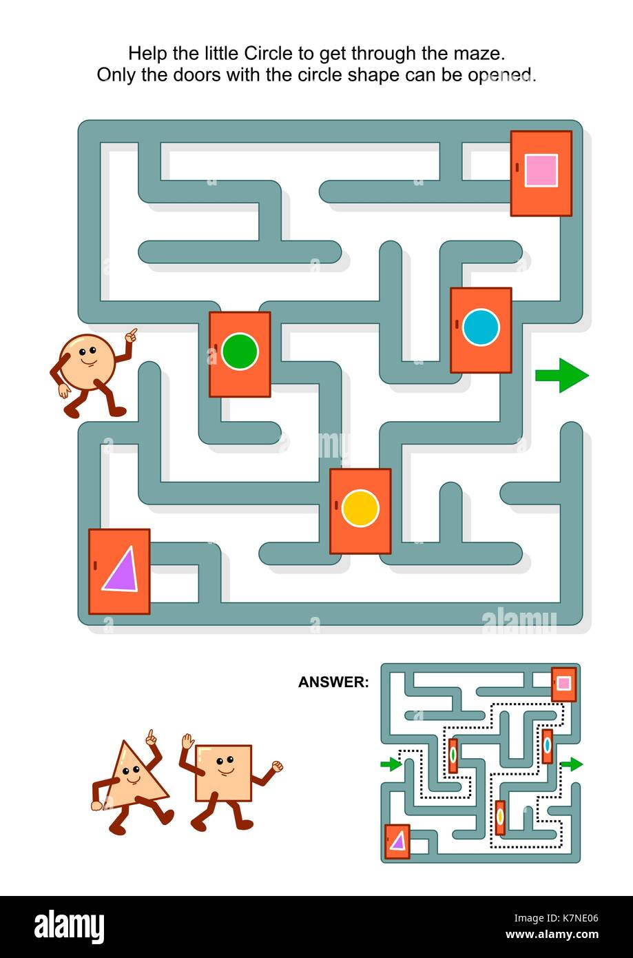 Educational math puzzle: Help the little circle to get through the maze. Only the doors with circle shape can be - Stock Image