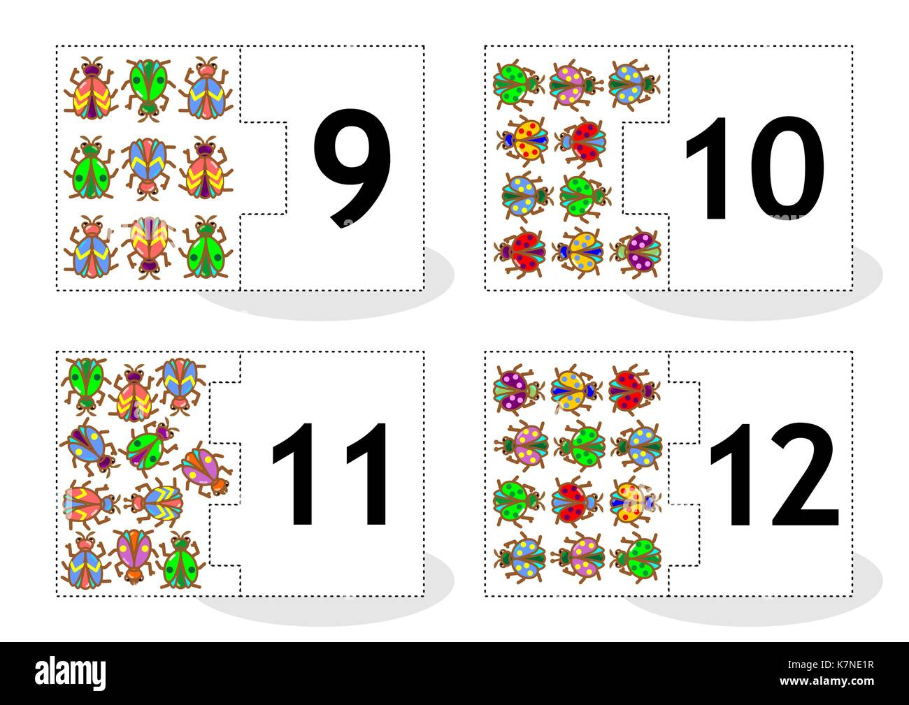 Learn counting 2-part puzzle cards to cut out and play, bugs and beetles themed, numbers 9 - 12 - Stock Image
