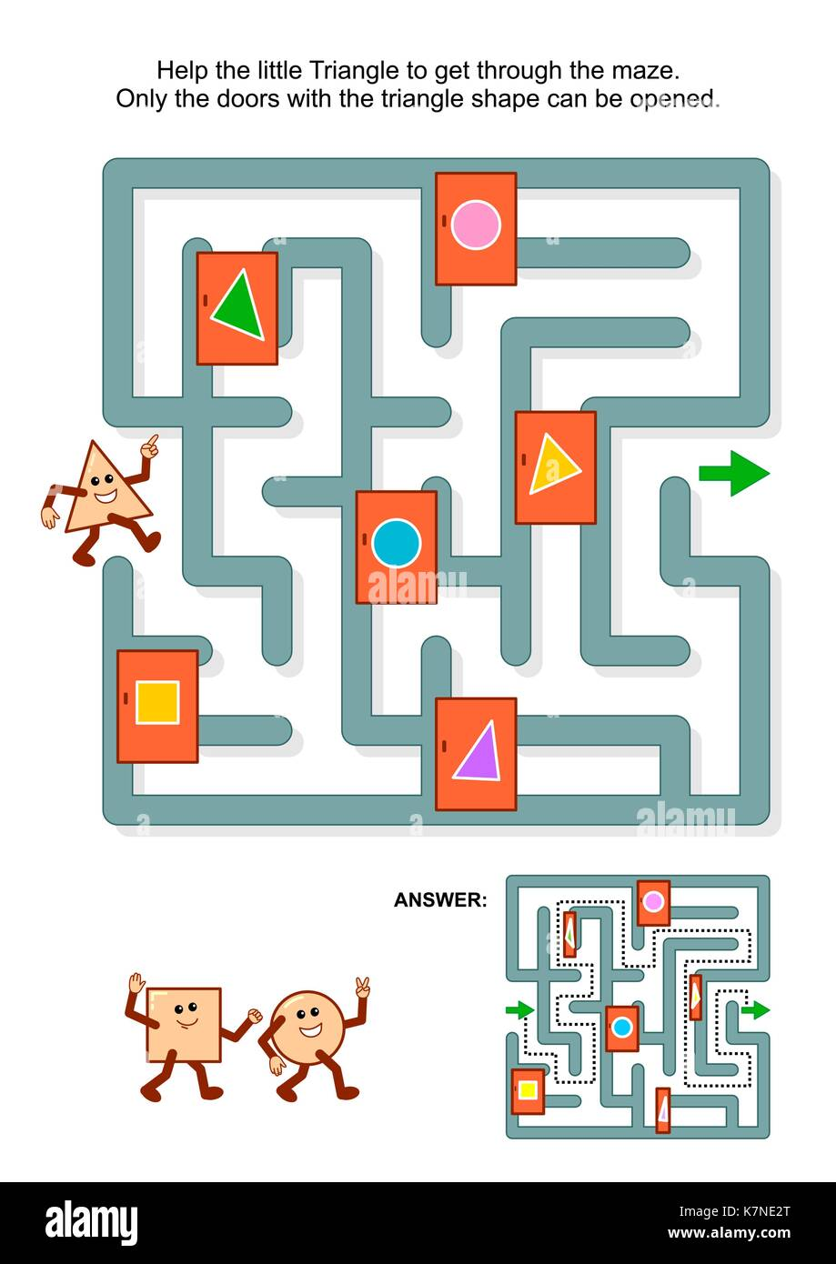 Educational math puzzle: Help the little triangle to get through the maze. Only the doors with triangle shape can - Stock Image