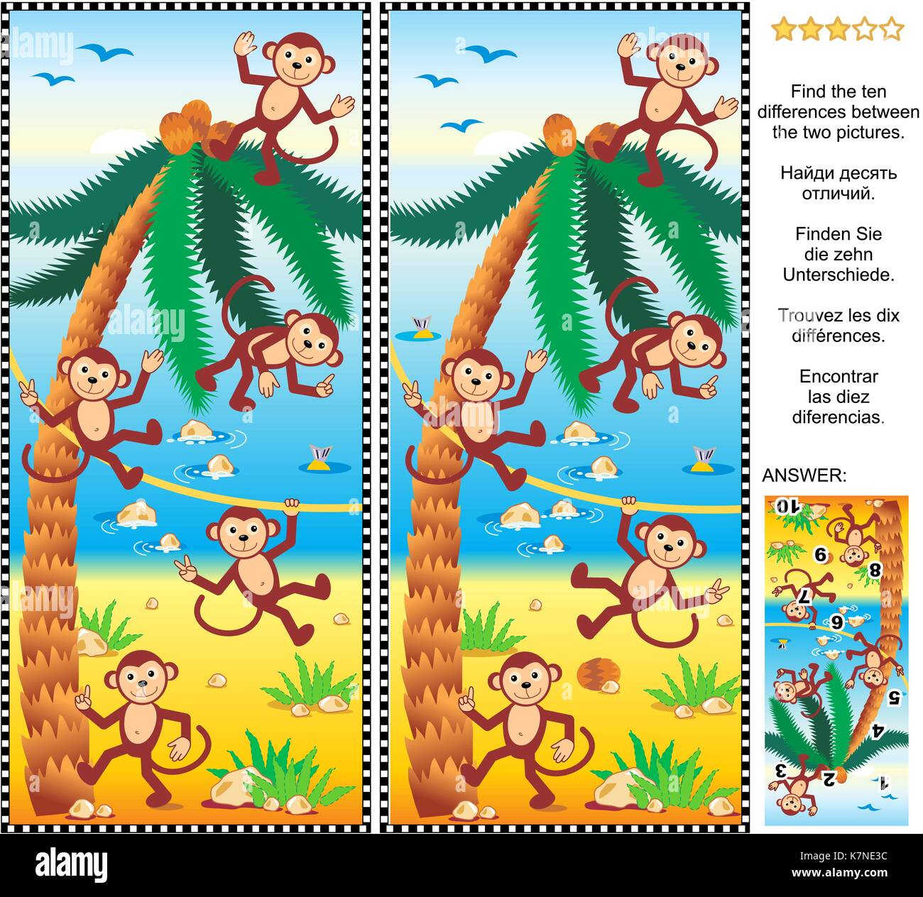Visual puzzle: Find the ten differences between the two pictures - playful monkeys, beach, coconut palm. Answer - Stock Image