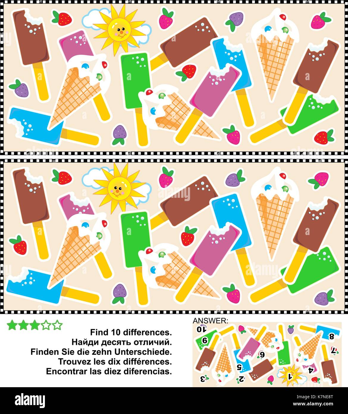 Picture puzzle: Find the ten differences between the two pictures of yummy ice cream bars and cones. Answer included. - Stock Image
