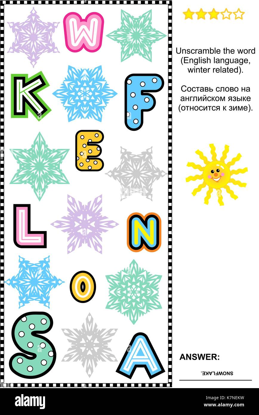 Word puzzle: Find all the letters and unscramble the winter word (English language). Answer included. - Stock Image