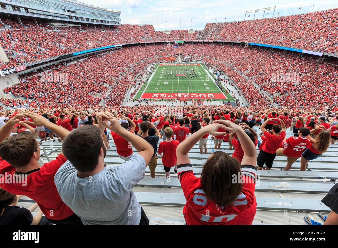 College football stadium fans