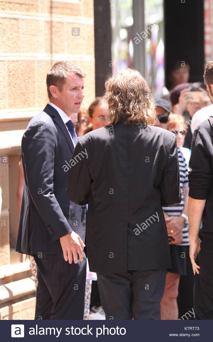 NSW Premier Mike Baird and Tori Johnson's father Ken Johnson. VIP dignitaries and family members of Sydney siege - Stock Image