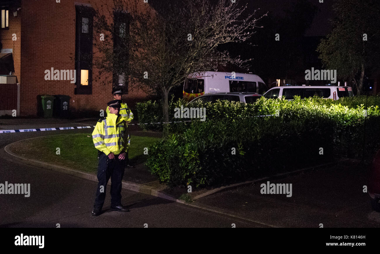 Surrey, United Kingdom. 17th Sep, 2017. Police remain at Stanwell address in Parsons Green investigation. Credit: - Stock Image