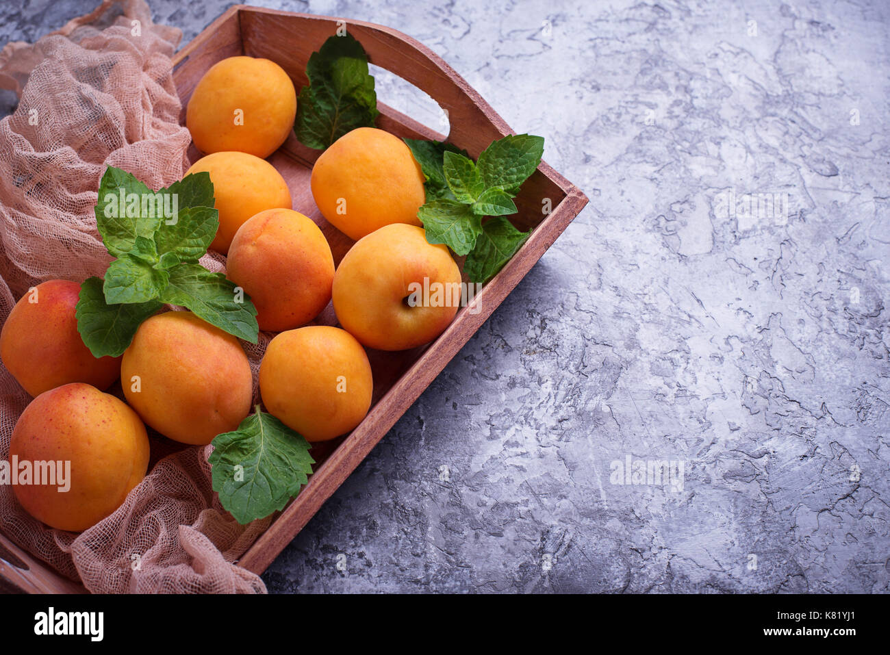Sweet juicy apricots - Stock Image