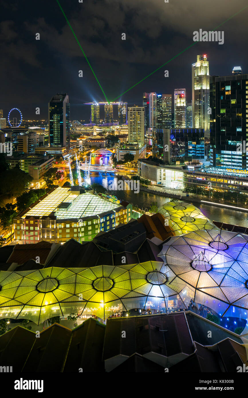 Elevated view over the city skyline and riverside restaurants at the entertainment district of Clarke Quay, Singapore, - Stock Image