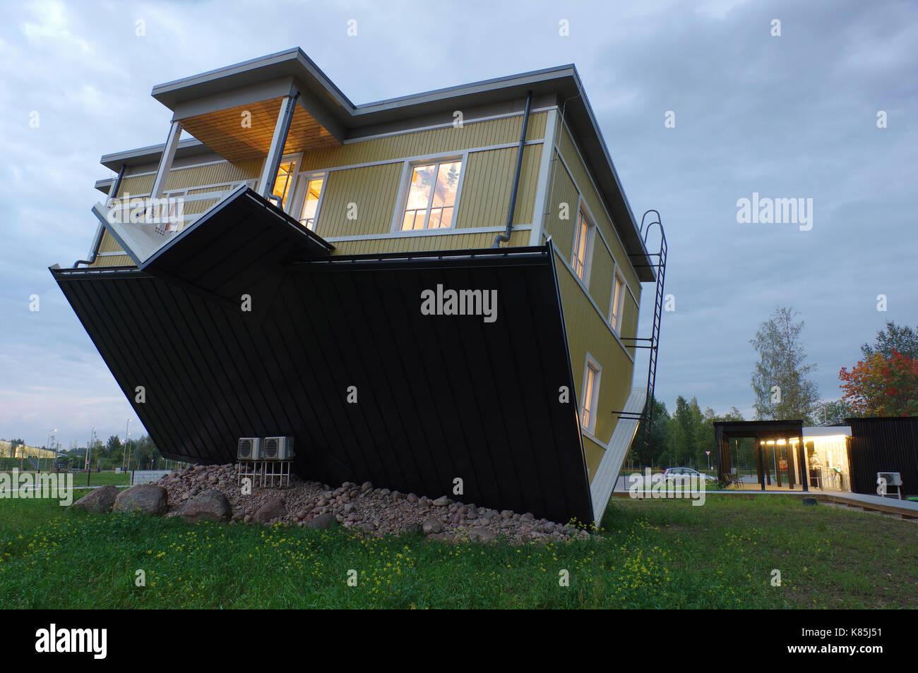 Upside down house in Tartu. Estonia 17th September 2017 Stock Photo
