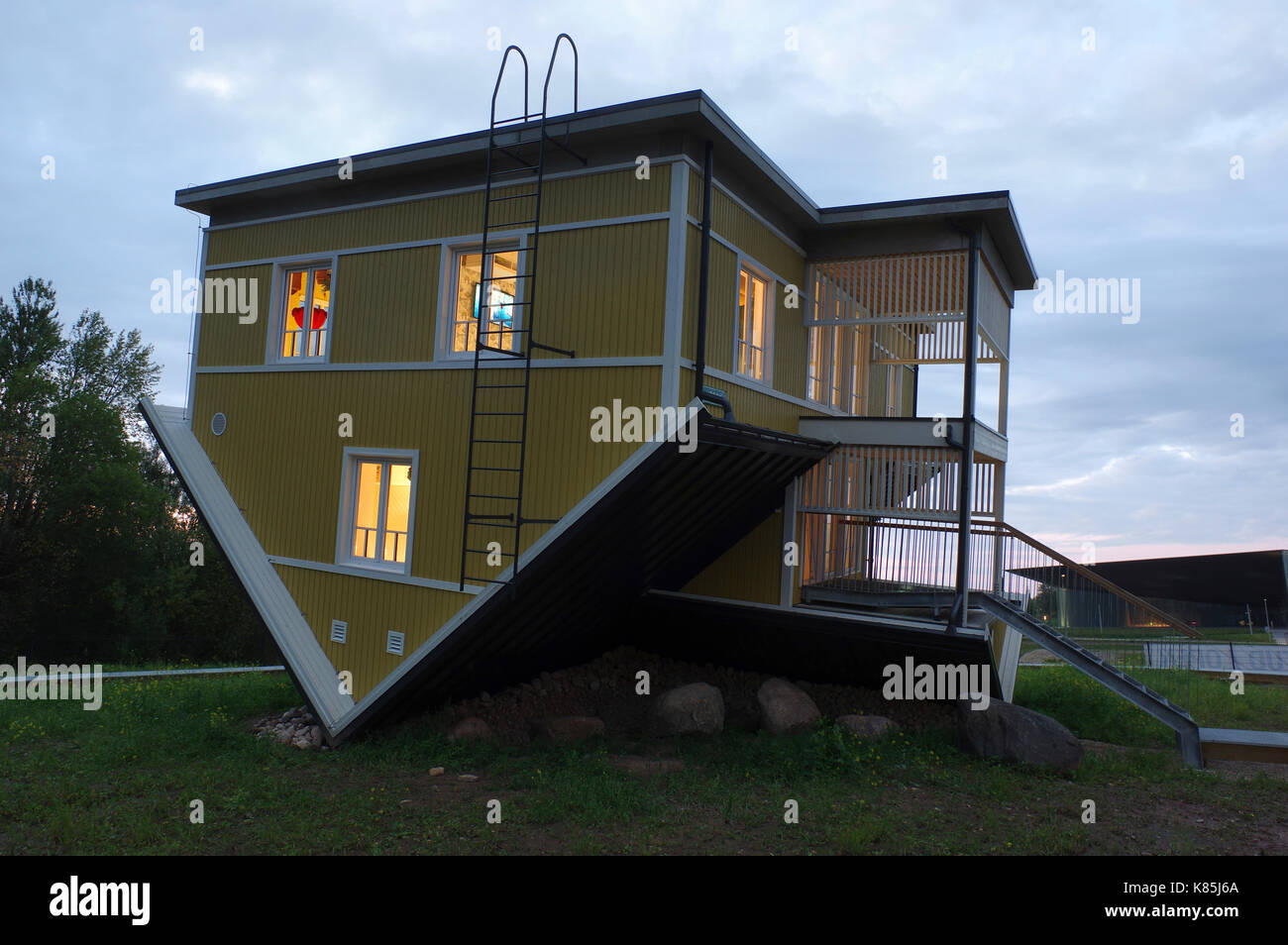 Upside down house in Tartu. Estonia 17th September 2017 Stock Photo