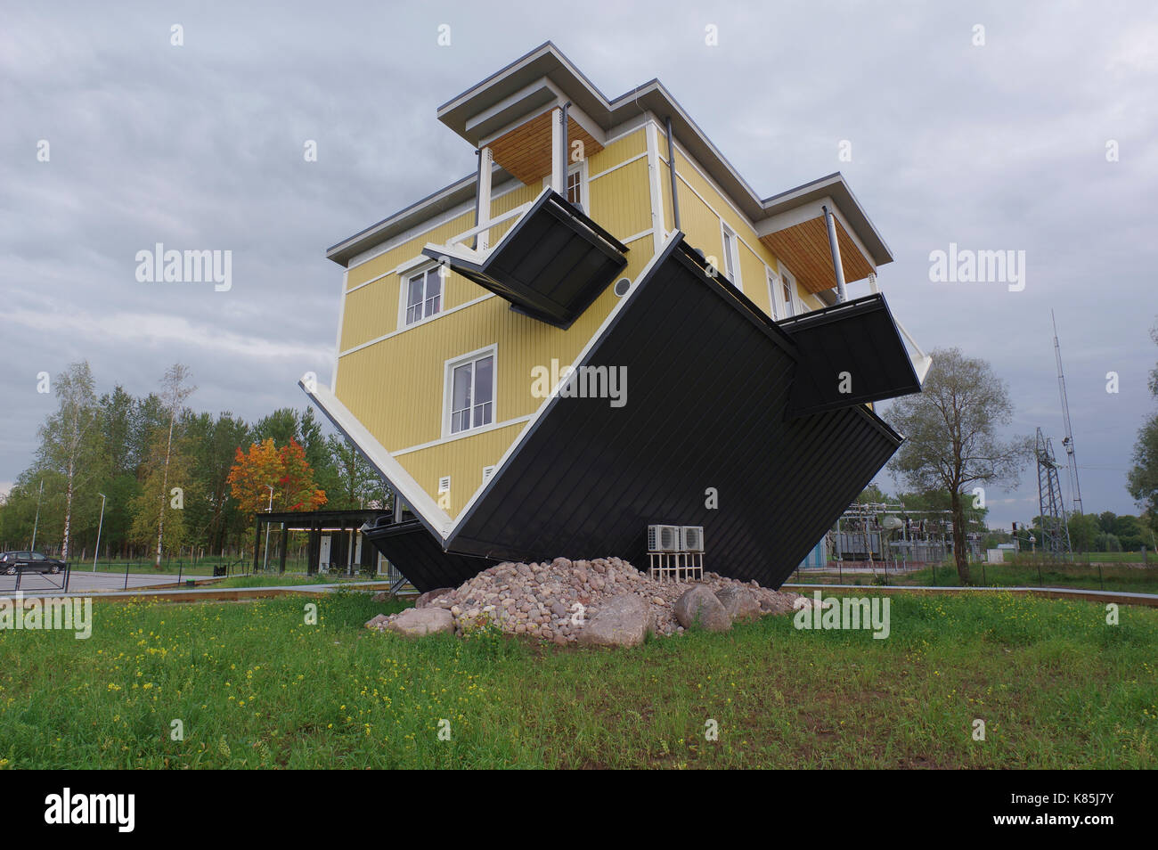 Upside down house in Tartu. Estonia 17th September 2017 - Stock Image