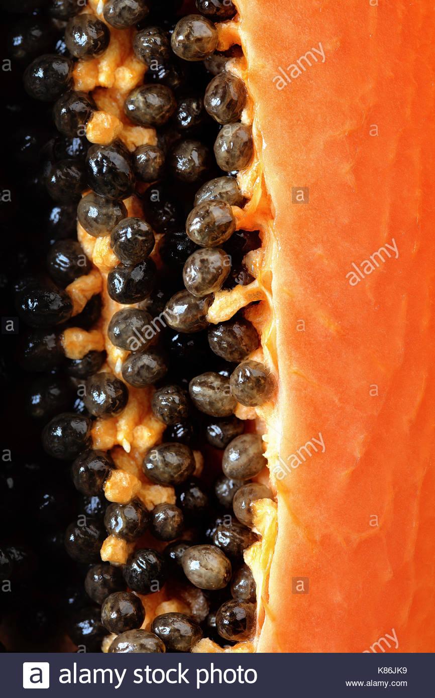 Papaya fruit (Paw Paw) half Macro image viewed from above with seeds - Stock Image
