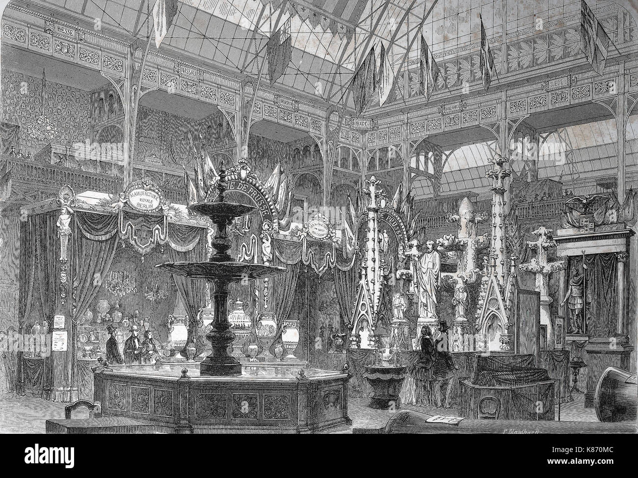the international exposition 1867, Paris, France, the prussian exhibition hall, Digital improved reproduction of - Stock Image