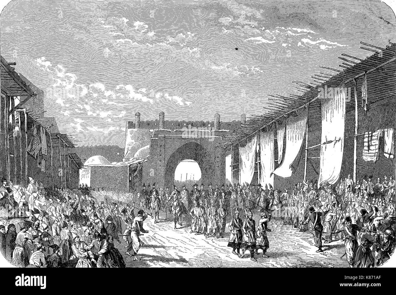 Tehran, Iran, arrival of the french envoy Bouree, Crimean War 1853 - 1856, Digital improved reproduction of an original - Stock Image