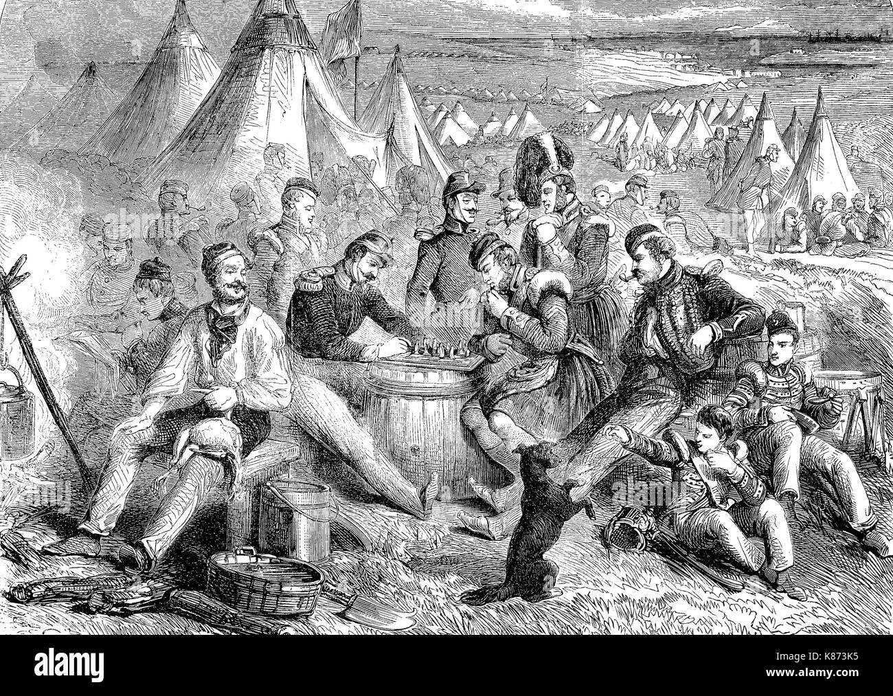 Crimean War 1853 - 1856, pastime and entertainment in the English camp at the Crimea, Digital improved reproduction - Stock Image