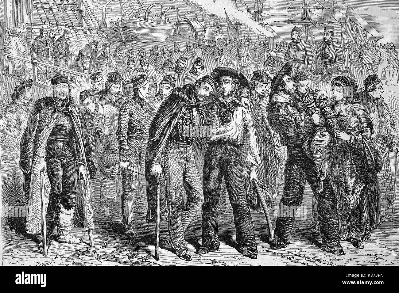 Crimean war, Return of wounded soldiers of the English army from the Crimea, Digital improved reproduction of an - Stock Image