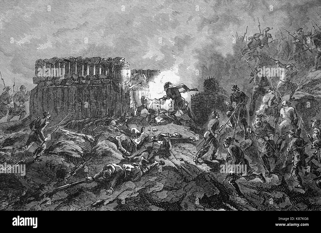 Crimean War 1855, Conquest of a Russian ambush at the Bastion, Digital improved reproduction of an original woodprint - Stock Image