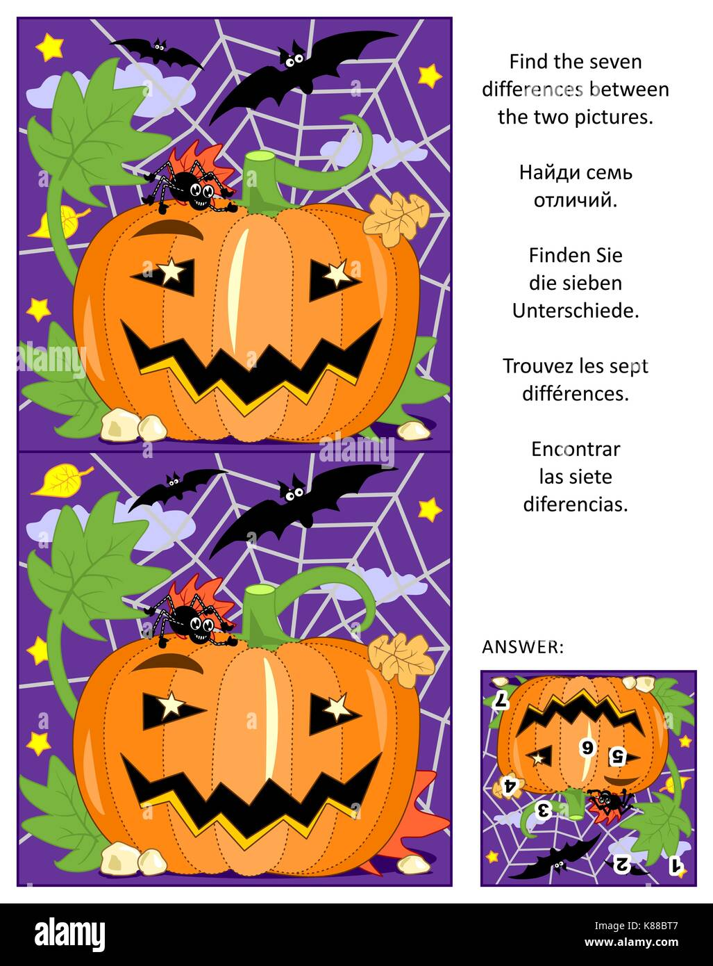 Halloween themed visual puzzle: Find the seven differences between the two pictures of pumpkin, bats and spider. - Stock Image