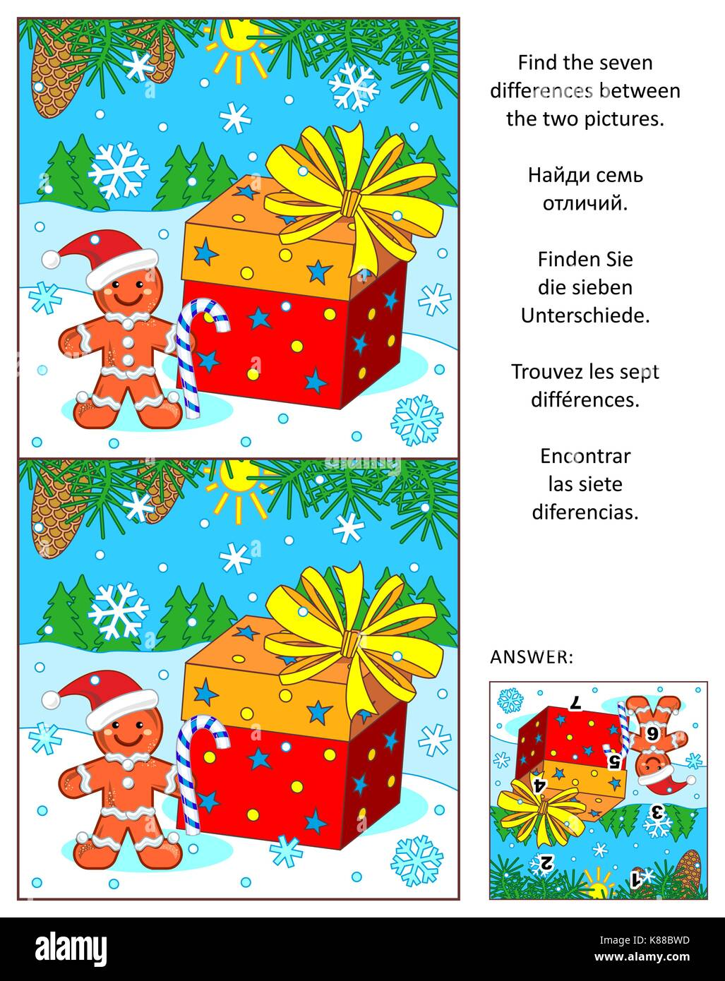 Christmas or New Year visual puzzle: Find the seven differences between the two pictures of ginger man, present, - Stock Image
